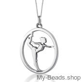 "My-Beads Sterling Silver gift pendant 424 ""Gymnast on Floor"". Perfect surpise for a gymnast, trainer or coach."