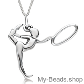 "My-Beads Sterling Silver gift, pendant 427 ""Gymnast with Hoop/Circle"" A hoop is an apparatus in rhythmic gymnastics. The routines in hoop involves mastery in both apparatus handling and body difficulty like leaps, jumps and pivots. Birthday present."