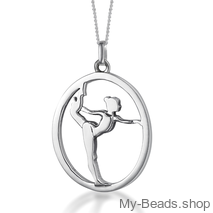 My-Beads sterling silver pendant gymnast on floor gift gymnastics