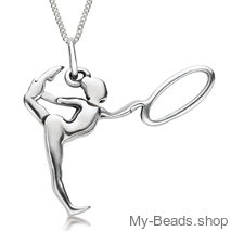"My-Beads Sterling Silver gift, pendant 427 ""Gymnast with Hoop/Circle"" A hoop is an apparatus in rhythmic gymnastics. The routines in hoop involves mastery in both apparatus handling and body difficulty like leaps, jumps and pivots. Birthday present. #MyBeadsSport #Gymnast #RG #RhythmicGymnastics"