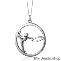 "My-Beads Sterling Silver gift, pendant 442 ""Gymnast with Hoop/Circle"" . The perfect birthday gift for a gymnast."