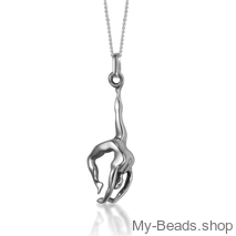 "My-Beads Sterling Silver gift pendant 438 ""Hand Stand"" 3-D  / Back handspring / Flick flack. The perfect gift for a gymnast, trainer or coach. Gymnastics birthday Gifts that your gymnast will love!"
