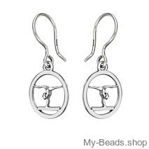 """My-Beads zilveren oorsieraad 715 """"Spagaat handstand - op balk"""" gymnastiek cadeau."""
