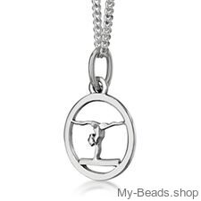 """My-Beads Sterling Silver pendant 443 """"Gymnast Balance Beam""""  Materials: Sterling Silver / 925  Perfect sport jewelry gift for a gymnast. #MyBeadsSport #Gymnastics #Gymnast #AG"""