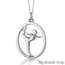 "My-Beads Sterling Silver gift pendant 441 ""Gymnast on Floor"". Perfect surpise for a gymnast, trainer or coach."
