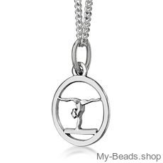 "My-Beads Sterling Silver gift, pendant 443 ""Gymnast Balance Beam"". Perfect sport jewelry gift for an artistic gymnast, coach or trainer."