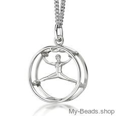 "My-Beads Sterling Silver pendant 449 ""Wheel gymnastics""​.  Gymnastics Gifts that your gymnast will love! Perfect birthday gift idea for gymnasts who love cart wheels."