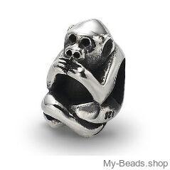 My-Beads 019 Aapje zilver  Deze zilveren bedel past op alle gangbare bedelarmbanden.  Edelmetaal: echt zilver, 925 (1e gehalte), nikkelvrij.