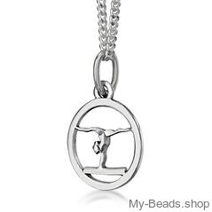 """My-Beads Sterling Silver pendant 431 """"Gymnast Balance Beam"""" Size: 13 mm Material: 925 Sterling Silver Including a gift box 21% V.A.T. included Perfect sport jewelry gift for a gymnast."""