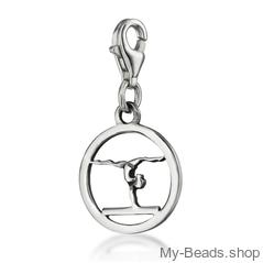 "My-Beads STerling Silver Charm 611 ""Gymnast Balance Beam"" Size: 15 mm Material: 925 Sterling Silver My-Beads Sterling Silver Charm with Lobster Clasp. Perfect sport jewelry gift for a gymnast. #MyBeadsSport #Gymnastics #Gymnast #AG"