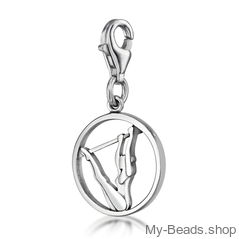"""My-Beads Charm 617 """"Uneven Bars"""" Material: 925 Sterling Silver My-Beads Sterling Silver Charm with Lobster Clasp. This sport jewelry article can be ordered in combination with a Sterling Silver Bracelet. Sterling Silver Bracelet with lobster clasp. Made in Germany high quality.  Perfect sport jewelry gift for a gymnast. #MyBeadsSport #Gymnastics #Gymnast #Sportgift"""