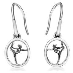 """My-Beads Silver Earrings 714 """"Gymnast on Floor"""" Size: 15 mm Material: 925 Sterling Silver Including a gift box V.A.T. included Perfect sport jewelry gift for a gymnast. #MyBeadsSport #Gymnastics #Gymnast #Sportgift"""