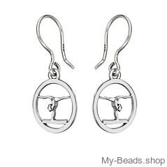 """My-Beads Silver Earrings 715 """"Gymnast Balance Beam"""" Size: 15 mm Material: 925 Sterling Silver Including a gift box V.A.T. included Perfect sport jewelry gift for a gymnast. #MyBeadsSport #Gymnastics #Gymnast #Sportgift"""