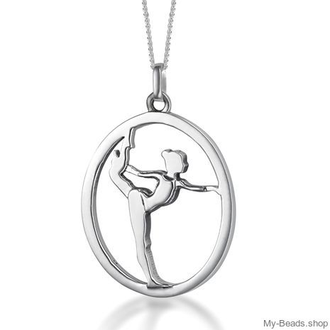 """My-Beads Sterling Silver gift pendant 424 """"Gymnast on Floor"""". Perfect surpise for a gymnast, trainer or coach."""