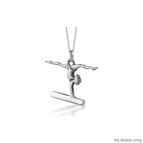 "My-Beads Sterling Silver gift, pendant 430 ""Gymnast Balance Beam"". Perfect sport jewelry gift for an artistic gymnast, coach or trainer. Birthday gift ideas."