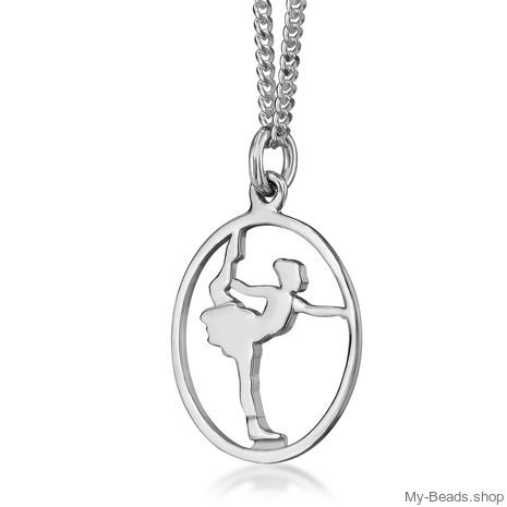 "My-Beads Sterling Silver pendant 444 ""Figure Skating"". Birthday gift."