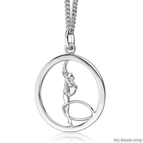 My-Beads Sterling Silver pendant 447 Rhythmic Gymnastics Hoop. Perfect sport jewelry gift for a gymnast. #MyBeadsSport #Rhythmic Gymnastics #RG #Hoop #Floor