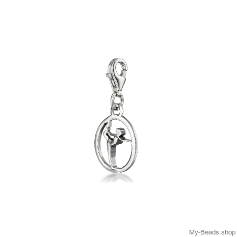 """My-Beads Silver Charm 612 """"Gymnast on Floor"""" Material: 925 Sterling Silver My-Beads Sterling Silver Charm with Lobster Clasp. Perfect sport jewelry gift for a gymnast. This sport jewelry article can be ordered in combination with a Sterling Silver Bracelet. Sterling Silver Bracelet with lobster clasp. Made in Germany high quality.  #MyBeadsSport #Gymnastics #Gymnast #Artistic Gymnastics #Sportgift"""