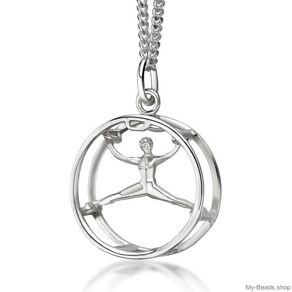 """My-Beads Sterling Silver pendant 449 """"Wheel gymnastics"""".  Gymnastics Gifts that your gymnast will love! Perfect birthday gift idea for gymnasts who love cart wheels. #MyBeadsSport #WheelGymnastics #Gymnast #Gymnastics"""