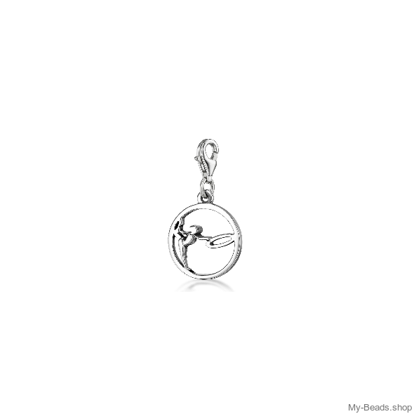 """My-Beads Charm 615 """"Gymnast with Circle / Hoop""""  Size: 15 mm   Materials: Sterling Silver / 925   Perfect sport jewelry gift for a gymnast. Great birthday gifts for gymnasts.  My-Beads Sterling Silver Charm with Lobster Clasp.  Perfect sport jewelry gift for a gymnast.  #MyBeadsSport #Gymnast #RG #RhythmicGymnastics"""