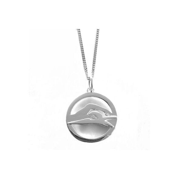 """My-Beads Sterling Silver pendant 480 """"Freestyle Swimming / Front Crawl"""" Size: 23 mm Material: 925 Sterling Silver Including a gift box V.A.T. included Sterling Silver pendant, """"Freestyle Swimming / Front Crawl"""" Perfect sport jewelry gift."""